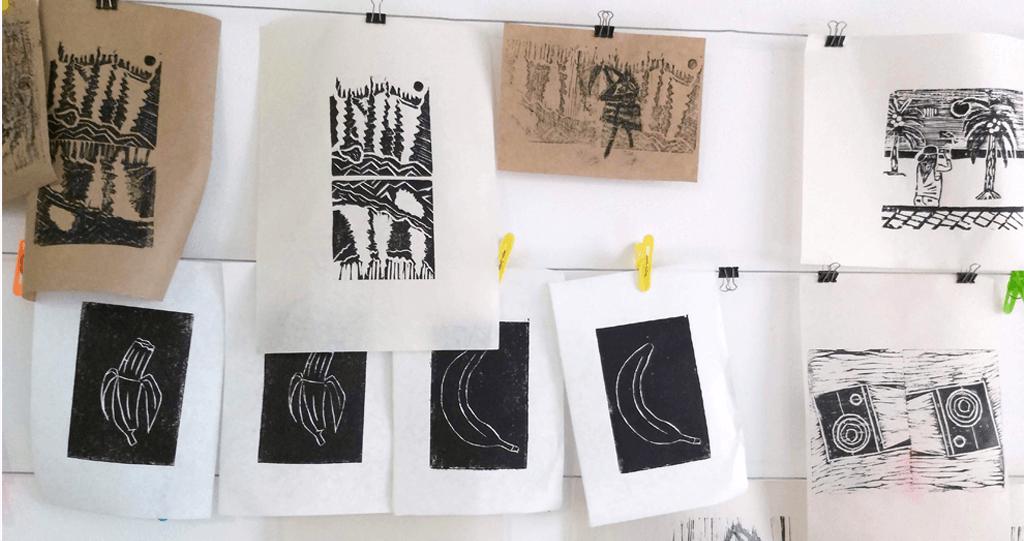 xilogravura impressoes em papel kraft e arroz