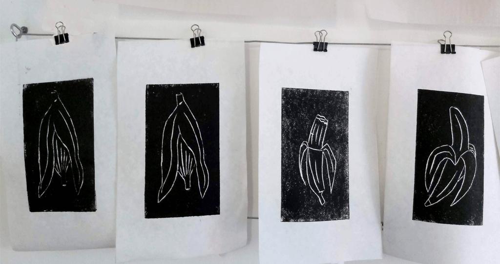 xilogravura impressoes preto em papel arroz