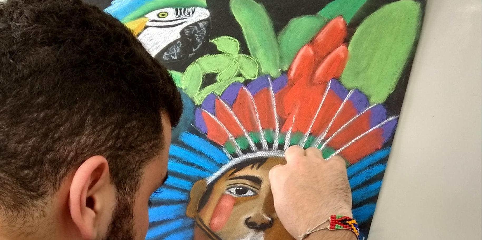 desenho de atelier índio vermelho azul