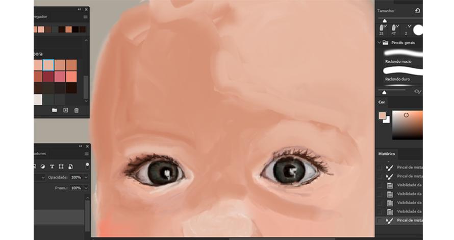 pintura digital - Olivia rosto olhos