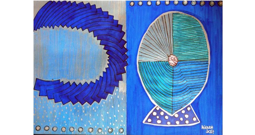 ilustração azul oval e hachuras