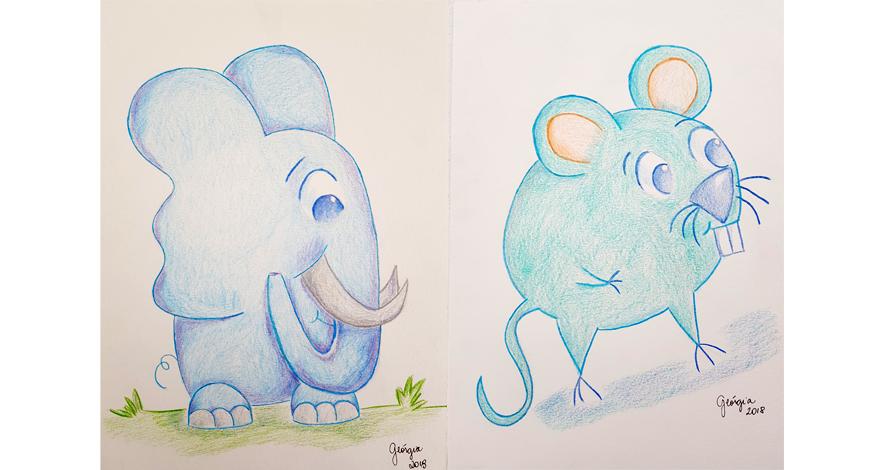 ilustração elefante e rato lápis de cor