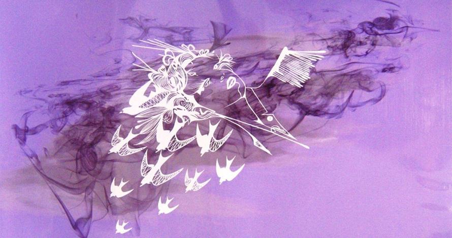 ilustração digital fundo lilás