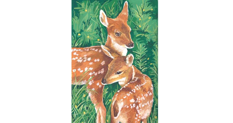 ilustração guache veados
