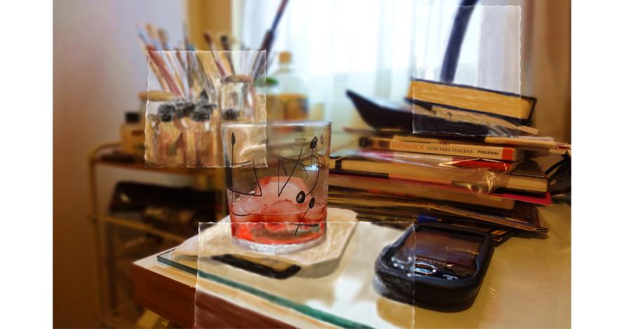 campari copo livros celular pintura digital