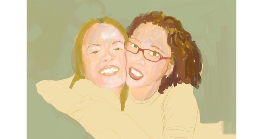 retrato irmãs abraço pintura digital