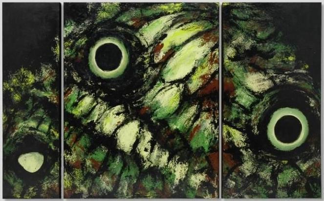 """Uma das obras da série """"Asas"""" de 2004. 1,60 x 1,00 m – Acrílico sobre painel (Tríptico)"""
