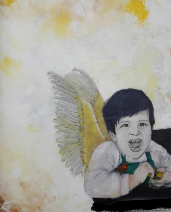 Auto retrato. Acrílico e grafite sobre tela e papel vegetal.