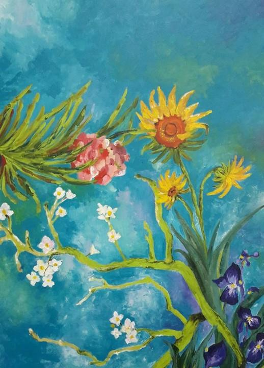 "Releitura do quadro ""Vincent´s Garden"" de Van Gogh. Óleo sobre tela."