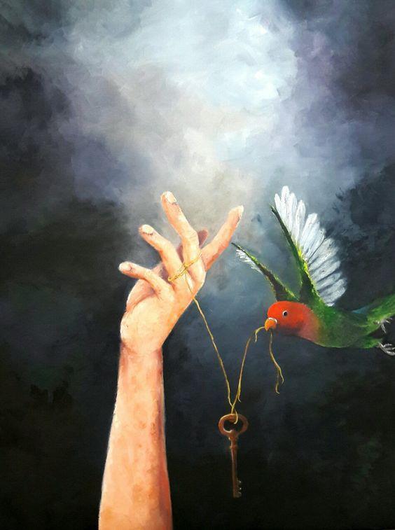 Imagem de uma mão, uma chave e um pássaro verde, feito em óleo sobre tela