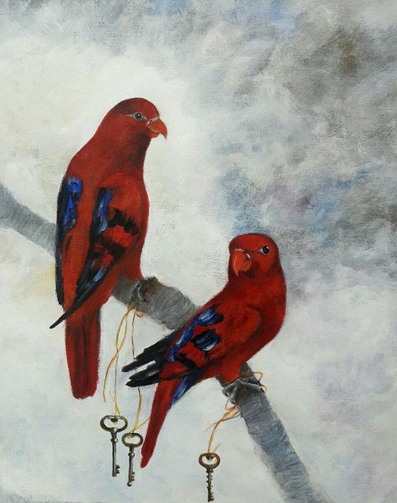 Imagem de dois pássaros vermelhos feitos em óleo sobre tela