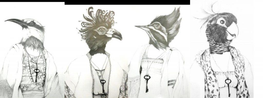 Imagem de 4 pássaros feitos com grafite