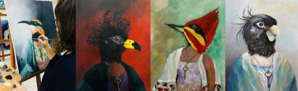 Imagem de quatro pássaros coloridos feitos com tinta a óleo