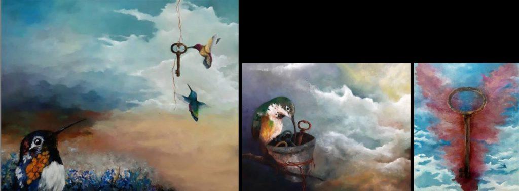 3 imagens de pássaros com fundo de céu, feitas com óleo sobre tela
