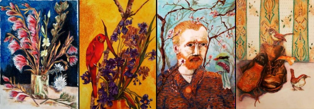 4 imagens coloridas de trabalhos inspirados em Van Goghs