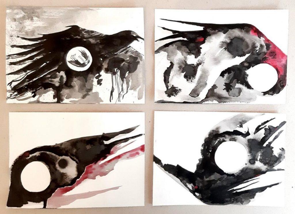 Imagem de 4 desenhos abstratos feitos em nanquim e aquarela sobre papel