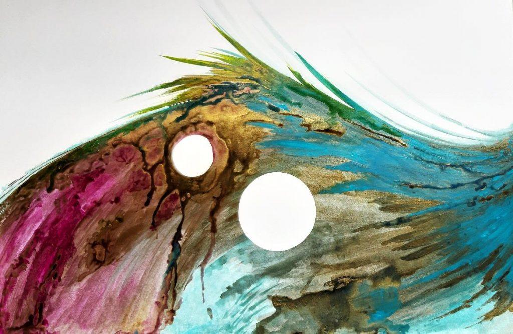 imagem de trabalho abstrato, parte de uma asa colorida.